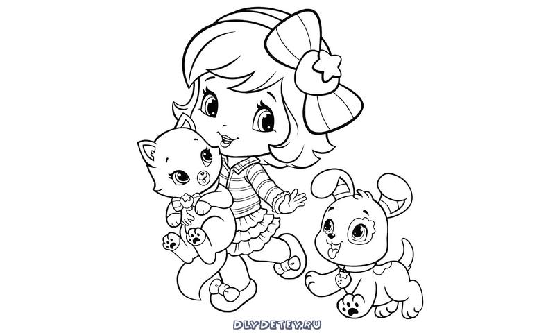 Девочка с кошкой и собакой